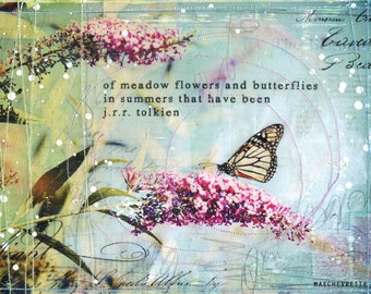 "Day 9 - 11""x14"" paper print - summery butterfly mixed media art"