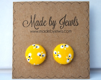 Fabric Covered Button Earrings - Yellow Bloom - Buy 3, get the 4th FREE