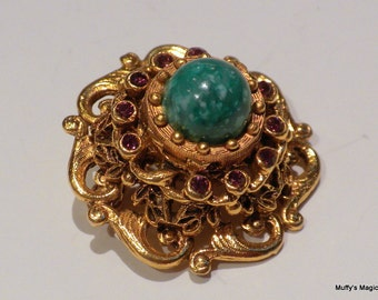 Vintage Florenza Etruscan Style Brooch Peking Glass Purple Rhinestones