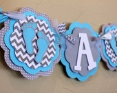 Baby Feet Chevron Stripe and Polka Dot IT'S A BOY or NAME Banner Sky Light Blue Gray Baby Shower Birthday Party Decorations PaisleyGreer