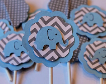 Baby Light Blue Elephant Gray Chevron stripe with polka dots cupcake toppers baby shower its a girl boy birthday cake