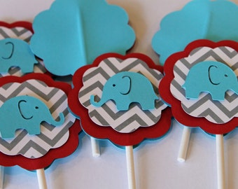 Elephant Chevron Stripe Sky Light Blue, Gray and Red cupcake toppers baby shower its a girl boy Birthday party decorations
