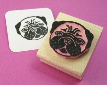 Dog Stamp - Pug Dog Hand Carved Rubber Stamp - Present for Dog Lover - Gift Pug Lover - Doggie Stamper - Gift Animal Lover - Scrapbooking
