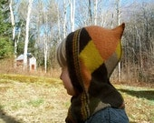Upcycled Earthy Argyle Elf Balaclava Toddler