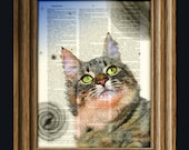 Sagan Kitty ponders the wonders of the universe. Space cat in the galaxy and stars dictionary page book art print