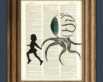 Mom, look what followed me home: Little girl and her pet, Reggie the tentacle eyeball monster dictionary page book art print
