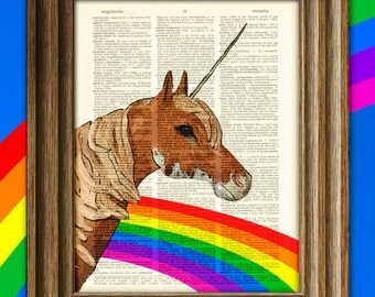 Shimmer Glitz the Rainbow Unicorn of Love and Sprinkles illustration dictionary page book art print my