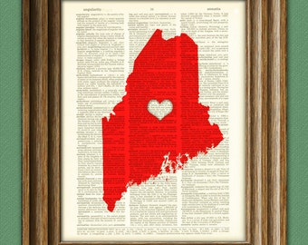 My Heart is in Maine state map awesome upcycled vintage dictionary page book art print