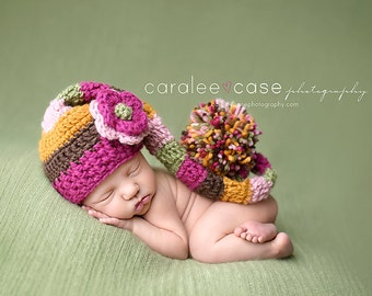 Baby Girl Elf Hat in Fun Fall Colors