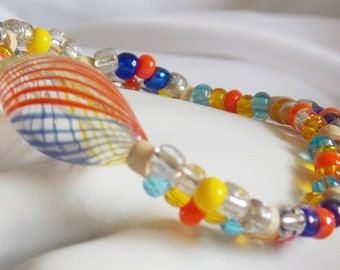 Blue Orange Yellow Colorful Beaded Bracelet Stretch Seed Bead