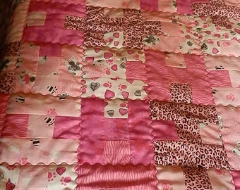 Award Winning Pink Animal Print Baby Quilt with free matching pacifier clip