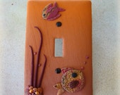 Polymer Clay Switch Cover - Extra Large - Under the Sea Fish Pattern - No. 154