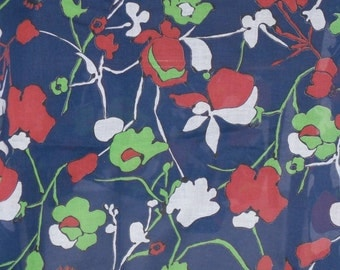 1970s Vintage See-Thru Sheer  Fabric Red White Blue  and Neon Green By The Yard