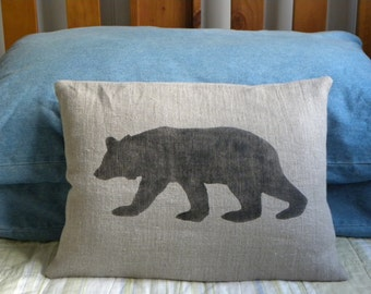 Linen bear pillow cushion cover - Christmas winter or boys room