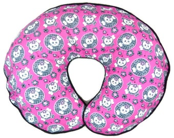 Boppy Cover White Girly Skulls with Black Lace and Spiders Nursing Pillow Cover