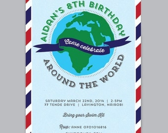 AROUND THE WORLD Custom Printable Birthday Invitation