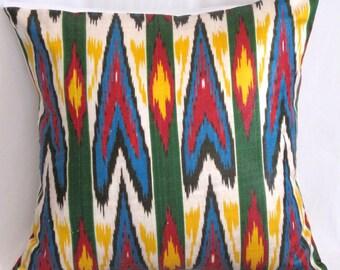 16x16 ikat pillow cover, green, yellow, blue, red, cream, ikat pillow cover, ikat cushion 16x16, sofa pillow, accent pillow, throw pillows