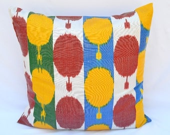 red, yellow, blue, green, ikat pillow cover, accent pillow, throw pillow, SilkWay