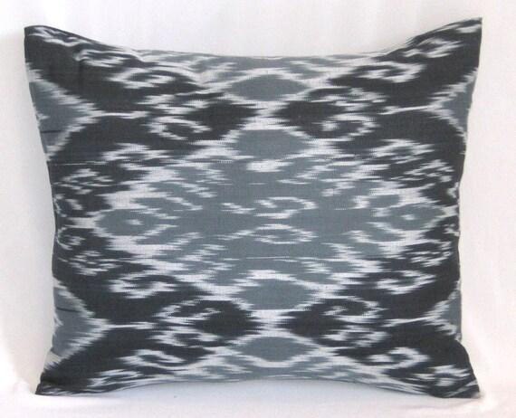 18x15 sized ikat soft cotton pillow cover, black gray ikat pillowcase, black gray cushion, on SALE !