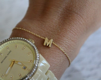 Tiny Gold Initial Bracelet...Small Initial Bracelet...bridal party jewelry gift idea birthday