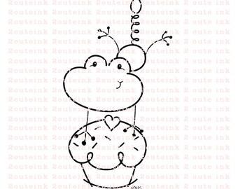 Birthday Froggie Digital Stamp for Card Making