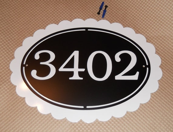 Scallop address sign, House sign, Street number, Metal art, Name plaque, Address sign, Address number, Street address, Wall decor, number