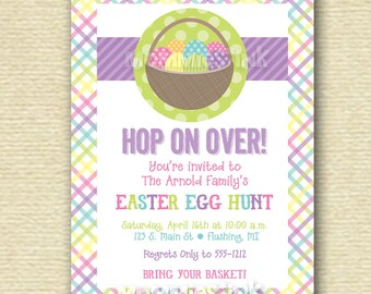 Pastel Plaid Easter Basket - Easter Egg Hunt Invite - PRINTABLE INVITATION DESIGN