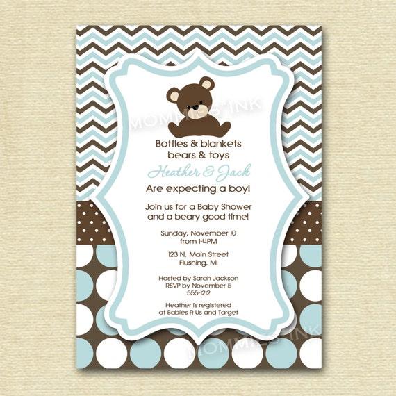 Chevron Polka Dot Teddy Bear Baby Shower Invitation By
