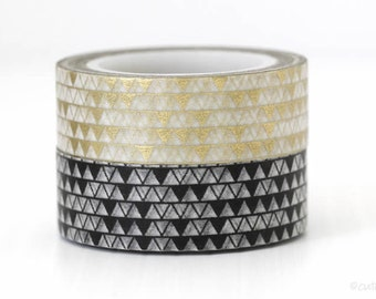 Tribal Triangle Washi Tape Pennant Paper Tape Gold Triangle Black Triangle Wedding Decor