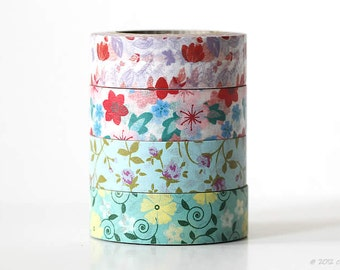 Floral Washi Tape Set of 4 Flowers Blue Turquoise Red Decorative Tape