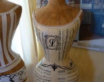 Vintage Inspired Dress Form Mannequin Monogram Wasp Waist Angel Wings  FREE SHIP & LAYAWAY