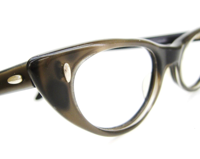 vintage 1950s olive cateye eyeglasses by vintageopticalframes