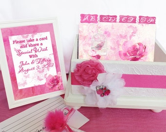 Wedding Guest Register Box Set Hot Pink & White
