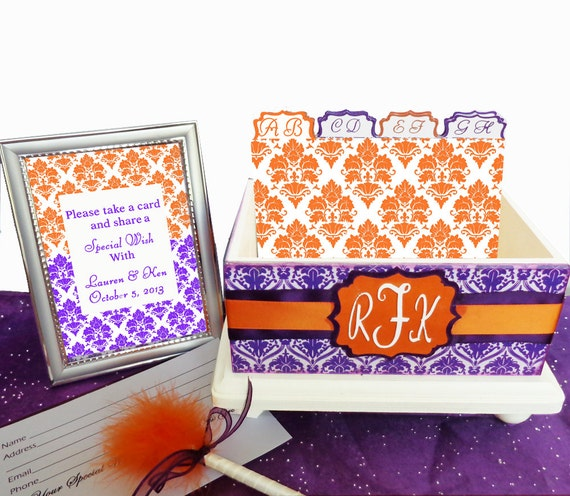 Personalized Wedding Guest Reception Box Set Always and Forever Orange and Purple Damask