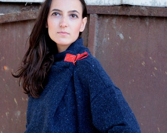 SALE 20% !!!! Dark BLUE Oversized boyfriend wool warm cozy sweater