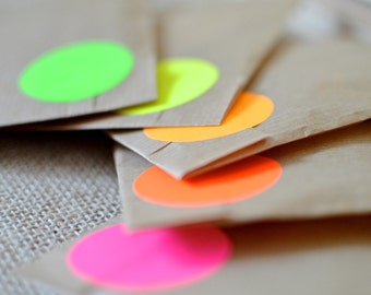 50 pcs, Neon multicolour Fluorescent, circle sticker, 40mm orange yellow pink red green