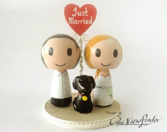 "Customize 2.75"" Wedding Cake Topper with heart message and a pet"