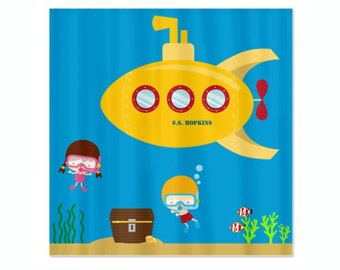 Deep Sea Kids Personalized Shower Curtain - Yellow Submarine, Diving Kids, Ocean