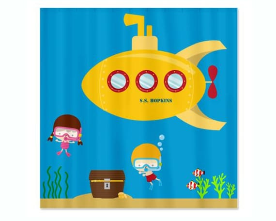 Deep Sea Kids Personalized Shower Curtain - Yellow Submarine, Diving ...