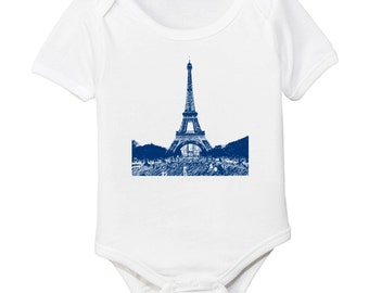 Eiffel Tower Paris France Organic Baby Bodysuit