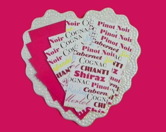 15 Thank You Cards. Upcycled Wine and Champagne and Plain Fuchsia Cards / Tags. 5047
