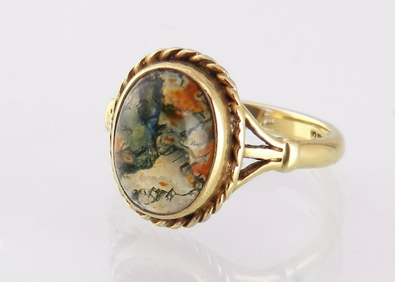 Golden Moss Agate: Vintage Moss Agate Ring 9ct Gold Dress Ring / Birmingham