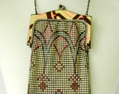REDUCED! Whiting and Davis Mesh Purse. Flapper, Art Deco, Style in Geometric Pattern.