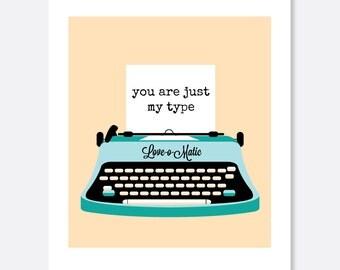 My Type Anniversary Card, Cute Anniversary Card, Vintage Anniversary Card, Typewriter Card