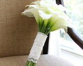 Calla Lily Bridal Bouquet White Wedding Flowers Real Touch Lace Silk Lilies