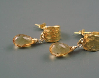 Citrine Briolette Earrings with Hammered Gold Filled and Large Quality Gemstone OOAK ON SALE were 45.00
