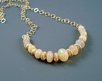 Opal Necklace with Ethiopian Fire Opals, Gold Filled Chain and Extreme Fire