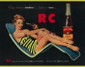 vintage pinup beach RC cola advertisement illustration
