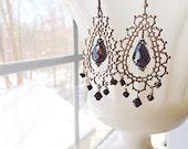 Black Silver Halloween Chandelier Gothic Earrings Morocco Bridal Lace by MinouBazaar