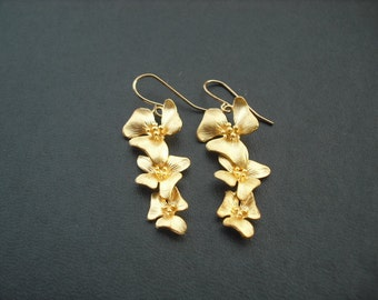 Bridesmaids gift, Wedding gift, Three fold flowers cascading earring - matte 16K gold plated